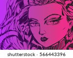 violet and pink manga girl... | Shutterstock .eps vector #566443396