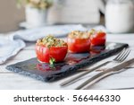 tomato stuffed with couscous | Shutterstock . vector #566446330