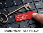 closed up finger on keyboard... | Shutterstock . vector #566448169