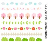 spring elements border set. | Shutterstock .eps vector #566454544