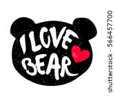 Cute Bear Head Silhouette With...