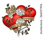 retro tattoo hearts with gold... | Shutterstock .eps vector #566457904