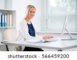 young businesswoman with... | Shutterstock . vector #566459200