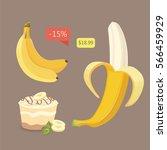 fresh banana fruits  collection ... | Shutterstock .eps vector #566459929