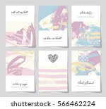 set of 6 abstract painting... | Shutterstock . vector #566462224
