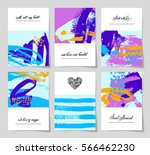 set of 6 abstract painting... | Shutterstock . vector #566462230