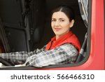 female driver looking out of... | Shutterstock . vector #566466310