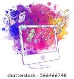 back to school  e learning... | Shutterstock .eps vector #566466748