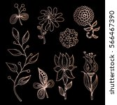 decorative set of stylized... | Shutterstock .eps vector #566467390