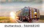 truck trailer logistis... | Shutterstock . vector #566468140