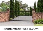 black wrought iron metal... | Shutterstock . vector #566469094