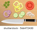 cutting board with sliced... | Shutterstock .eps vector #566472430