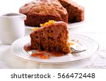 sticky toffee pudding with... | Shutterstock . vector #566472448