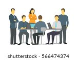six persons business people... | Shutterstock .eps vector #566474374