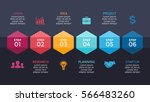 vector arrows hexagons timeline ... | Shutterstock .eps vector #566483260