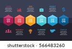 vector arrows hexagons timeline ... | Shutterstock .eps vector #566483260
