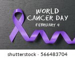 lavender ribbon. world cancer... | Shutterstock . vector #566483704