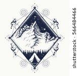 mountains tattoo art. symbol of ... | Shutterstock .eps vector #566484466