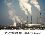 industrial chimney urban... | Shutterstock . vector #566491120