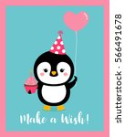 cute penguin cartoon... | Shutterstock .eps vector #566491678
