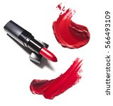 red lipstick and her smears...   Shutterstock . vector #566493109