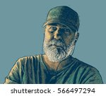 old bearded man with headphones ... | Shutterstock .eps vector #566497294
