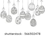 background with hanging easter... | Shutterstock .eps vector #566502478