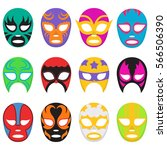 colorful wrestling mask... | Shutterstock .eps vector #566506390