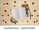 greeting card mock up on a... | Shutterstock . vector #566515360