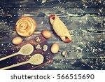 croissant  bun  chicken and... | Shutterstock . vector #566515690