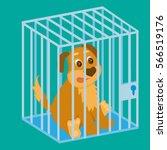 sad dog in cage. cartoon vector ... | Shutterstock .eps vector #566519176