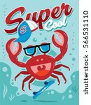 funny and cute skater crab... | Shutterstock .eps vector #566531110
