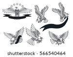 Stock vector vector american eagles set traditional tattoo designs 566540464