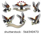 vector american eagles set... | Shutterstock .eps vector #566540473