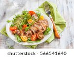 healthy food. salad plate with... | Shutterstock . vector #566541640