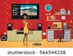 young woman in the living room. ... | Shutterstock .eps vector #566544238