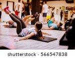 abs workout weightloss training.... | Shutterstock . vector #566547838
