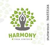 vector yoga tree logo concept.... | Shutterstock .eps vector #566553166