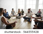 diversity people exercise class ... | Shutterstock . vector #566555428