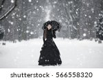Woman In Black Victorian Dress...