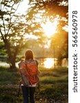 backpacker casual travel... | Shutterstock . vector #566560978