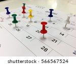 thumbtack in calendar concept...   Shutterstock . vector #566567524
