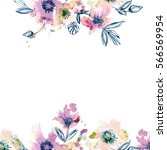 watercolor hand painted... | Shutterstock . vector #566569954