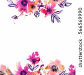 watercolor hand painted... | Shutterstock . vector #566569990