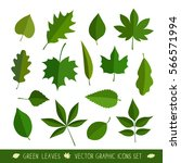 leaves icon set. vector... | Shutterstock .eps vector #566571994
