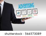 advertising concept  young man... | Shutterstock . vector #566573089