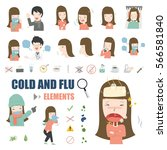 common cold and flu elements... | Shutterstock .eps vector #566581840