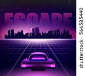 80s retro sci fi background.... | Shutterstock .eps vector #566585440
