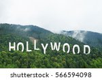 word hollywood on landscape... | Shutterstock . vector #566594098