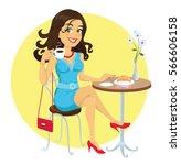 brunette girl drinking coffee   Shutterstock .eps vector #566606158